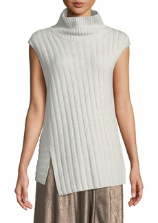 Vince Mixed-Rib Wool-Cashmere Turtleneck Sweater