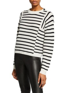 Vince Mixed Stripe Crewneck Long-Sleeve Pullover
