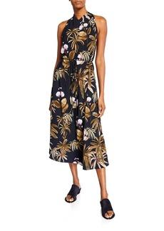 Vince Mixed Tropical Garden Halter Dress