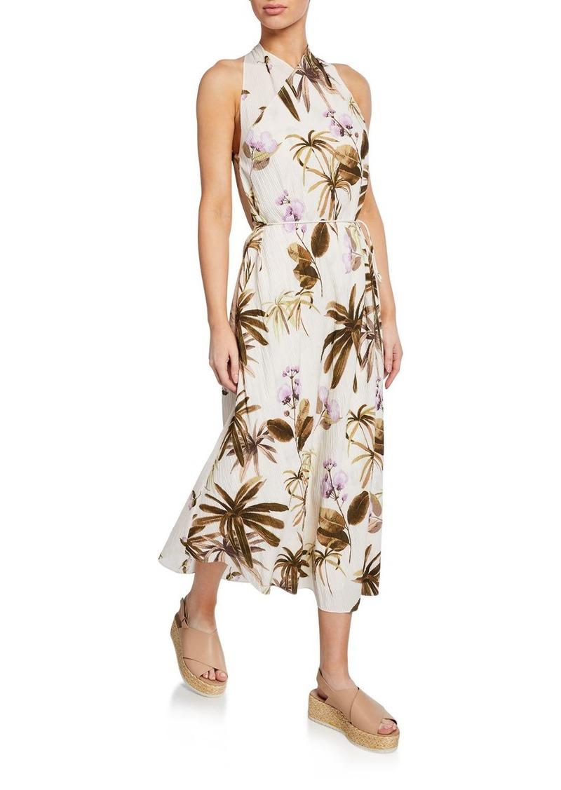 Vince Mixed Tropical Garden Halter Maxi Dress