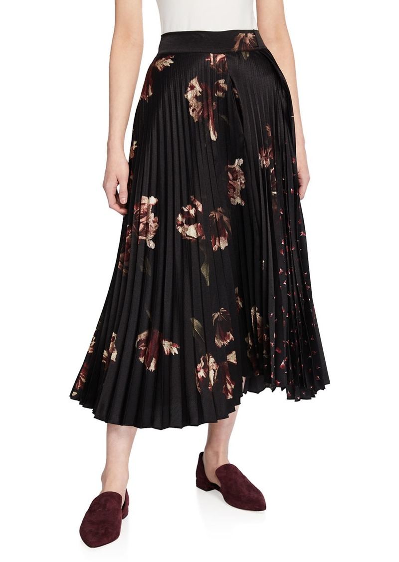 Vince Mixed Tulip-Print Pleated Skirt