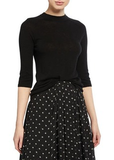 Vince Mock-Neck Elbow-Sleeve Top