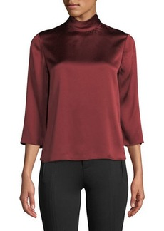 Vince Mock-Neck Silk Satin Blouse