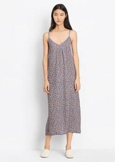 Multi Floral Silk Pleat Neck Slip Dress