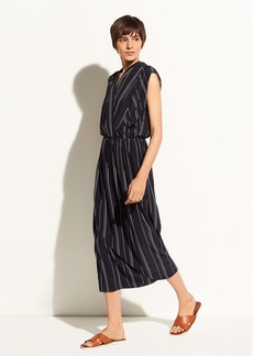 Multi Stripe Draped Cross Front Dress