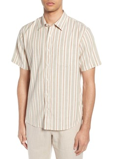 Vince Multi Stripe Slim Fit Short Sleeve Shirt