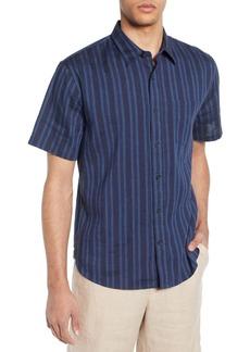 Vince Multi Stripe Slim Fit Short Sleeve Shirt