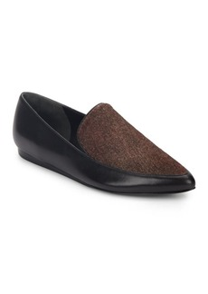 Vince Nikita Calf Hair & Leather Point-Toe Loafers