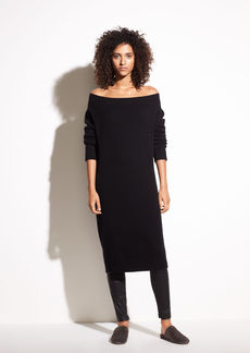 Off-the-Shoulder Wool and Cashmere Dress