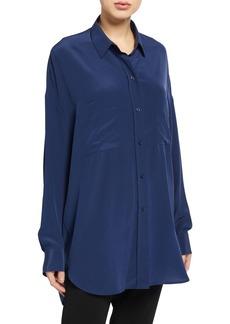 Vince Oversized Button-Front Silk Blouse