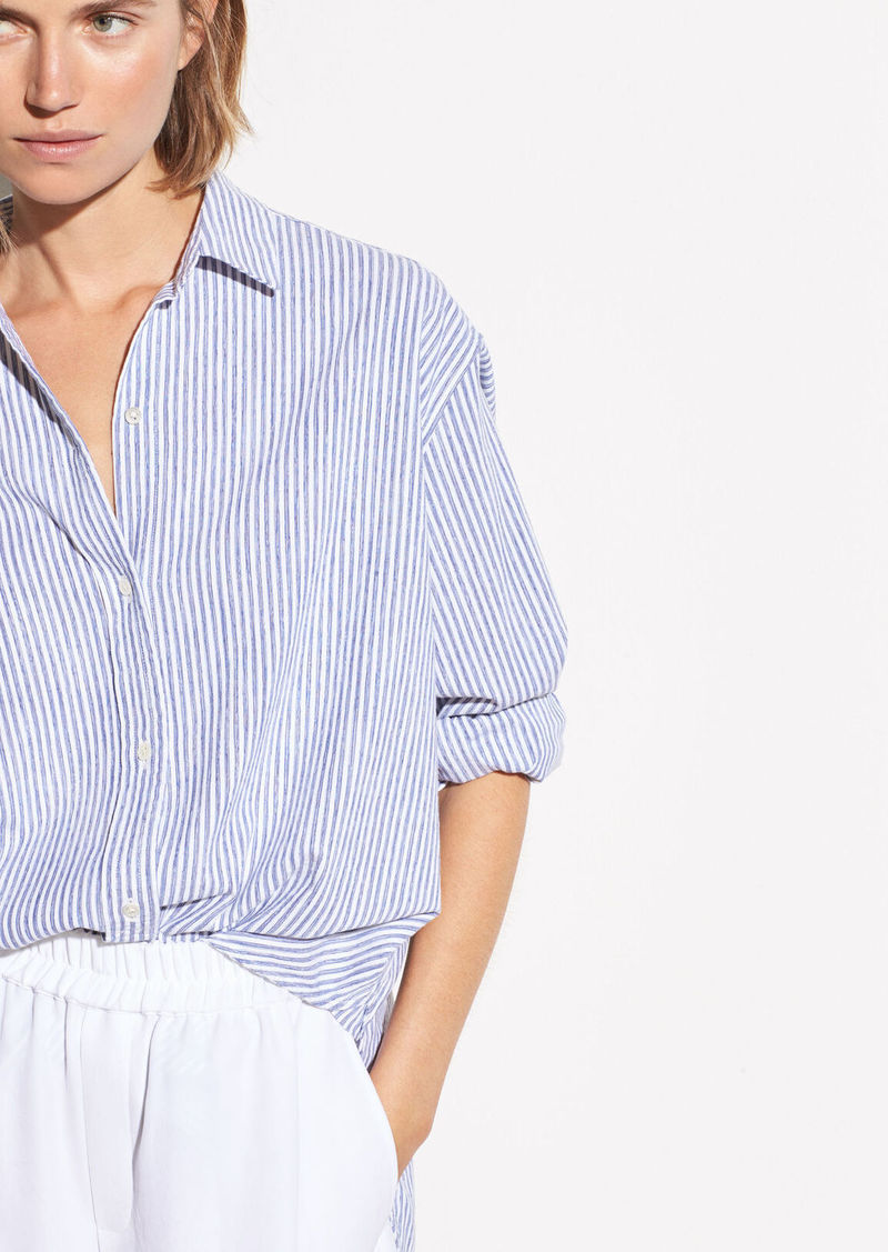 Vince Oversized Space Dye Stripe Shirt