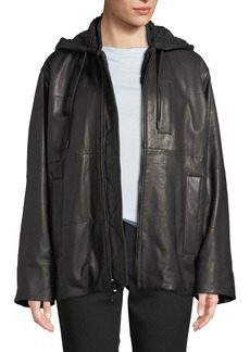 Vince Oversized Zip-Front Leather Puffer Jacket