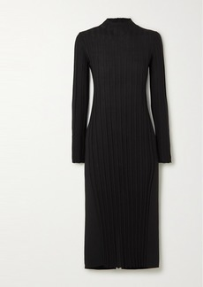 Vince Paneled Ribbed-knit And Stretch-jersey Turtleneck Midi Dress