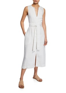 Vince Pencil-Stripe Belted Sleeveless Dress