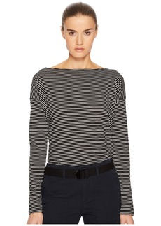Vince Pencil Stripe Long Sleeve Boat Neck