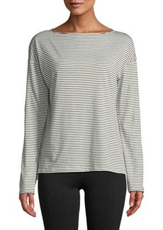 Vince Pencil-Stripe Long-Sleeve Boat-Neck Cotton Top
