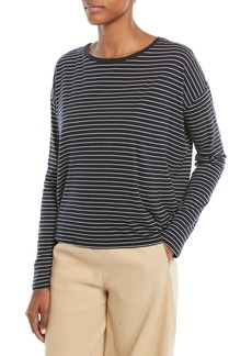 Vince Pencil-Stripe Relaxed Long-Sleeve Top