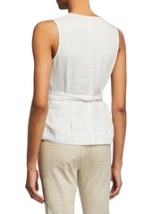 Vince Pencil-Striped Belted Shell