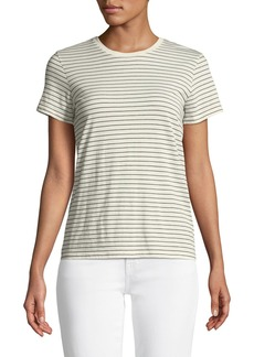 Vince Pencil Striped Short-Sleeve Crewneck Top