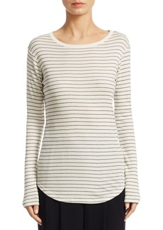 Vince Pinstripe Shirttail Cotton Sweater