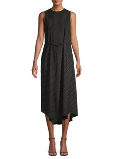 Vince Pinstriped Midi Shift Dress