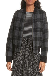 Vince Plaid Wool Blend Bomber Jacket