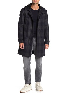 Vince Plaid Faux Shearling Trim Duffle Coat
