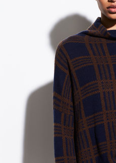 Vince Plaid Wool Cashmere Funnel Neck