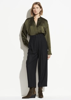 Vince Pleat Front Flannel Cropped Pant