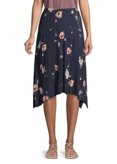 Vince Pleated Floral Skirt