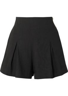 Vince Pleated Linen-blend Shorts