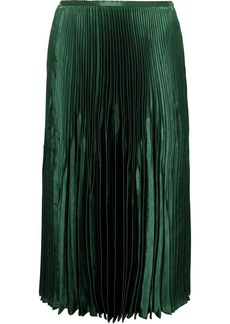 Vince Pleated Satin Midi Skirt