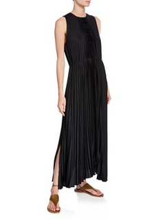 Vince Pleated Scoop-Neck Sleeveless Shift Dress