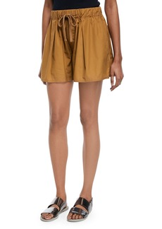 Vince Pleated Self-Tie Cotton Shorts