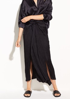 Pleated Tie-Front Crepe de Chine Skirt