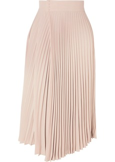 Vince Pleated Wrap-effect Crepe De Chine Midi Skirt