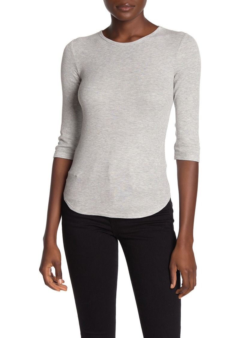 Vince Quarter Sleeve Ribbed Knit Top