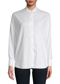 Vince Raw Edged Oversized Button-Down Shirt
