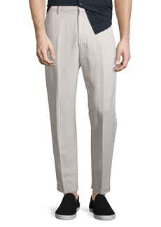 Vince Relaxed Linen-Blend Cropped Trousers