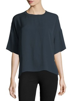 Vince Relaxed Silk Rib-Neck Pullover Tee