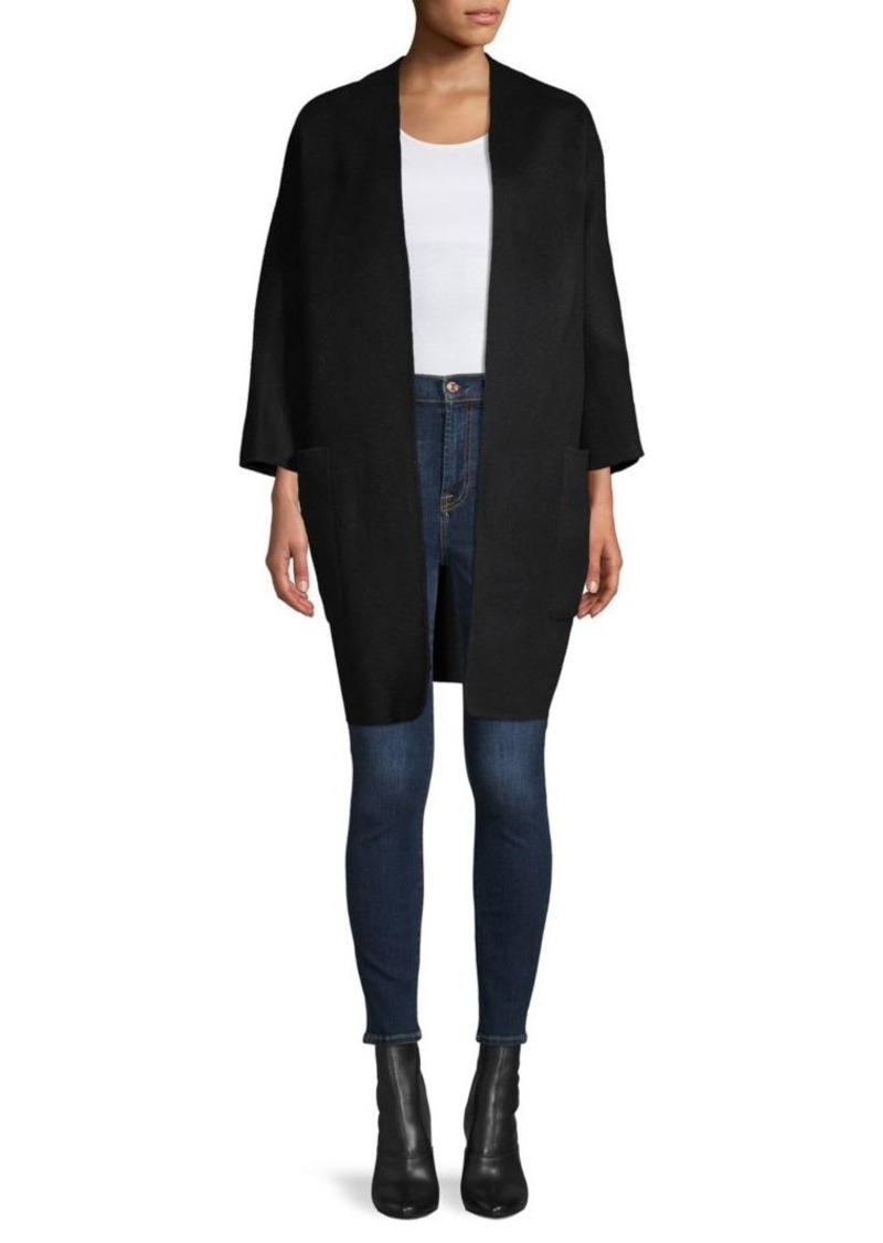 Vince Reversible Open-Front Wool-Blend Coat