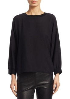 Vince Long-Sleeve Silk Top