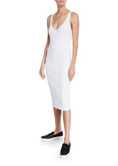 Vince Ribbed Double V-Neck Sleeveless Dress