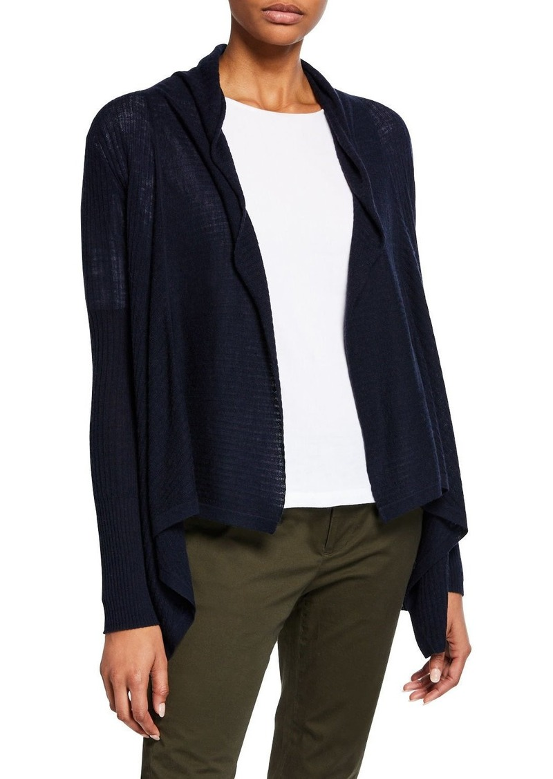 Vince Ribbed Drape-Front Wool-Cashmere Cardigan