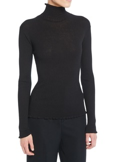 Vince Ribbed Lettuce-Edge Turtleneck Sweater