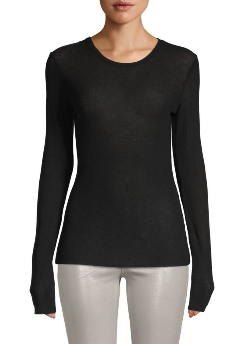 Vince Ribbed Long-Sleeve Cotton Top