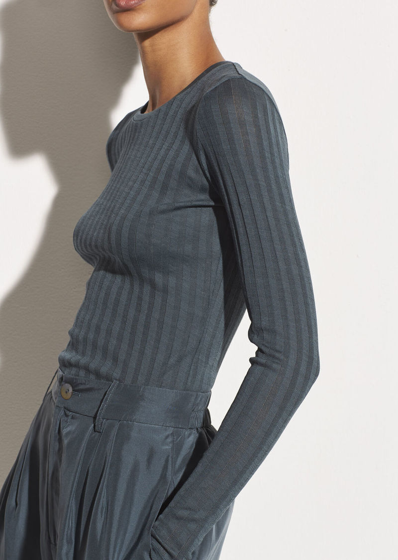 Vince Ribbed Long Sleeve Crew