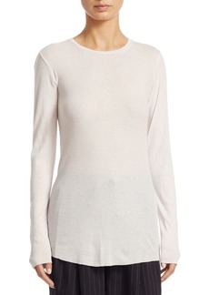 Vince Ribbed Long-Sleeve Crewneck Top