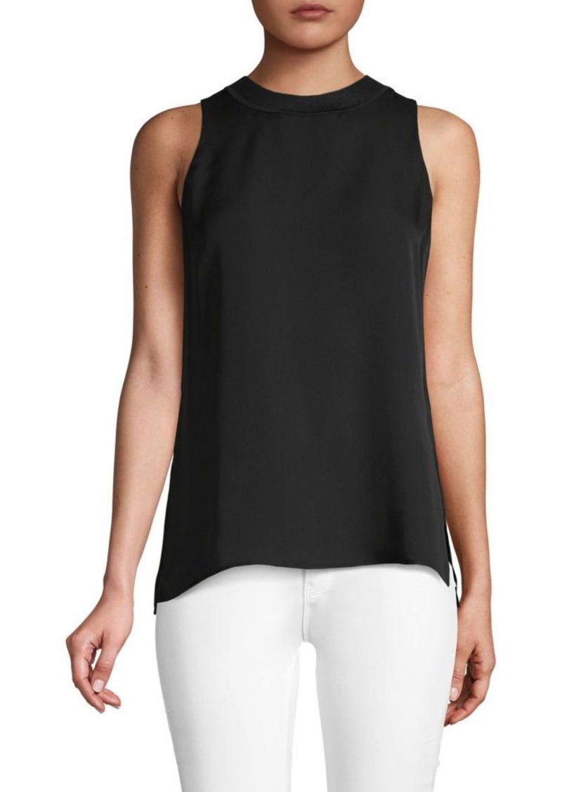 Vince Ribbed-Trim Silk-Blend Tank Top