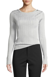 Vince Ribbed Viscose Long-Sleeve Crewneck Sweater Top